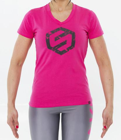 WOMENS SPLASH LOGO V-NECK TEE