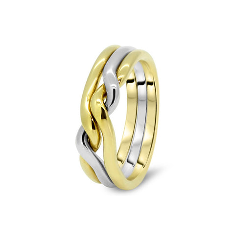 gold puzzle ring 3cn m - Puzzle Wedding Rings