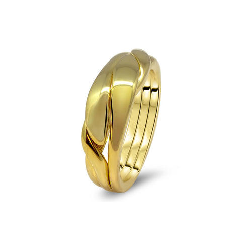 Gold Puzzle Ring 3WBD-U
