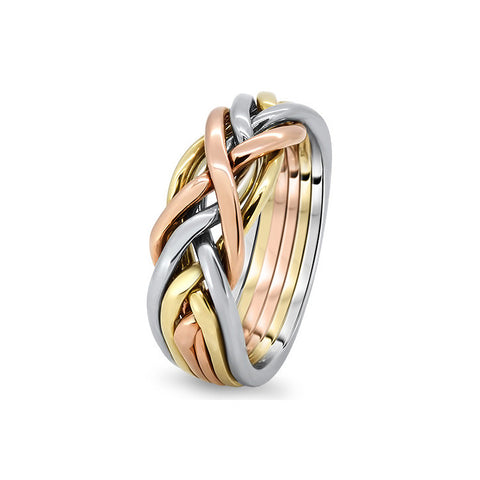 gold puzzle ring 6cw l - Puzzle Wedding Rings