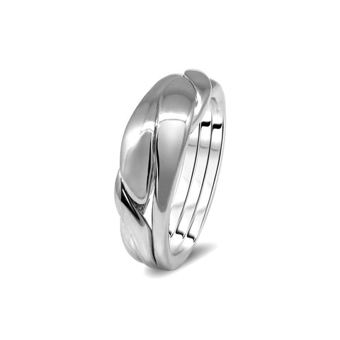 Silver Puzzle Ring 3WBD-U