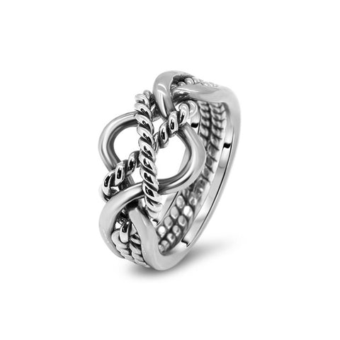 Silver Puzzle Ring 4B2T-M