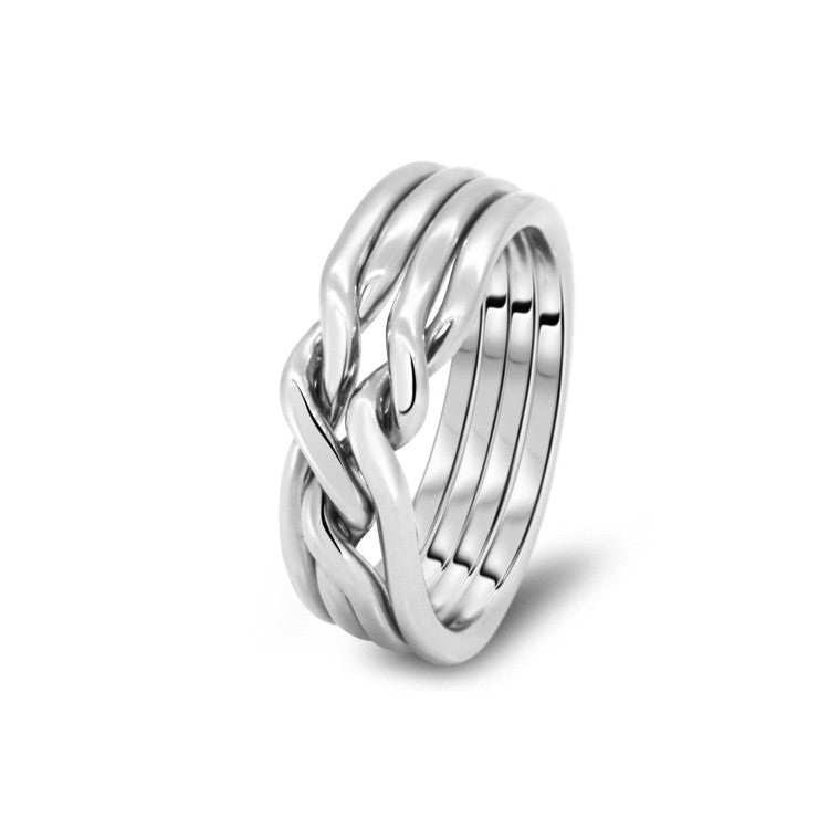 Silver Puzzle Ring 4CN-L