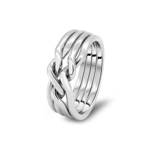 Silver Puzzle Ring 4CN-M