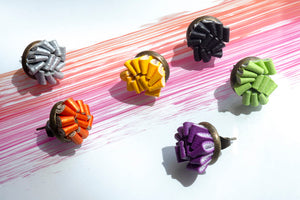 Earrings made of leather of different colors, handmade