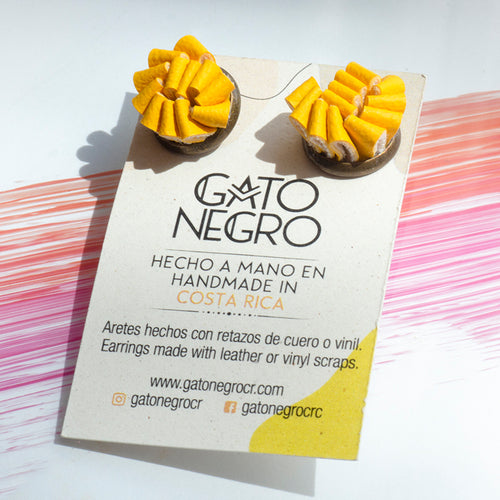 Gato Negro leather earrings made in Costa Rica