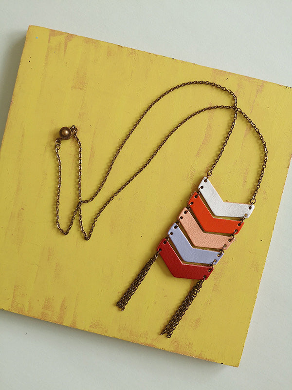 Necklace Geometric leather - available in colors