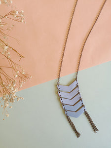 Necklace Geometric leather - available in serenity