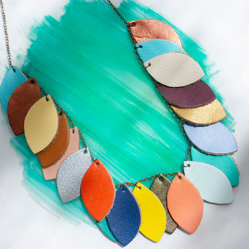 Leather Leaves Necklace - Sustainable design details