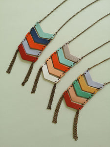Leather geometric necklace - Costa Rican design