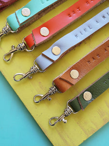 Details of leather key chains.