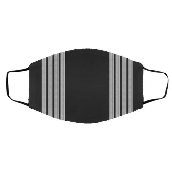 4 Silver Pilot Stripes On Black - 3 Layers Reusable Cloth Face Mask