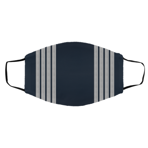 Dual Silver-Blue Pilot Stripes 3 Layers Reusable Cloth Face Mask