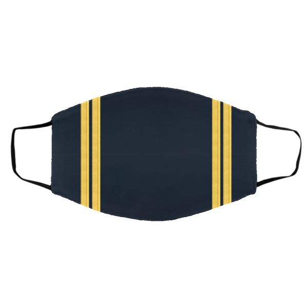 2 Gold Pilot Stripes On Blue - 3 Layers Reusable Cloth Face Mask