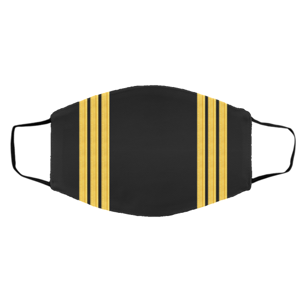 3 Gold Pilot Stripes On Black - 3 Layers Reusable Cloth Face Mask