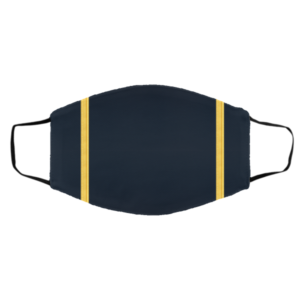 1 Gold Pilot Stripe On Blue - 3 Layers Reusable Cloth Face Mask