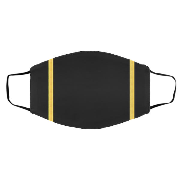 1 Gold Pilot Stripes On Black - 3 Layers Reusable Cloth Face Mask
