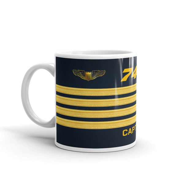 Aviation Themed Pilot Coffee Mug - 747 Captain Gold Stripe Coffee And Tea Mug-Flightag