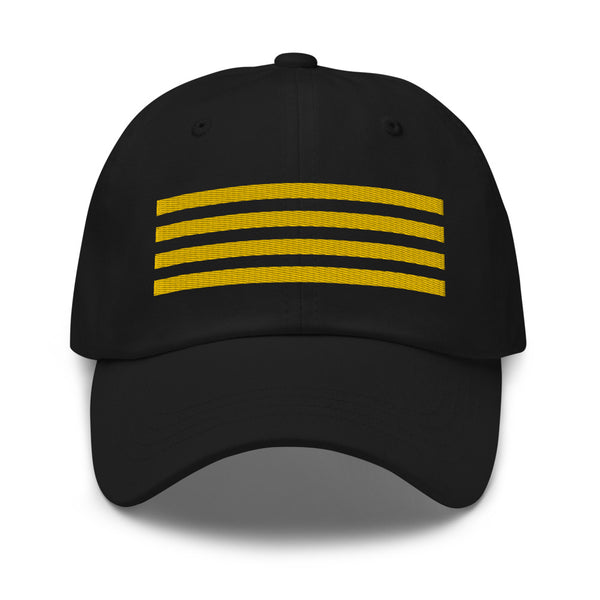 4 Gold Pilot Stripes Classic Embroidered Cap black