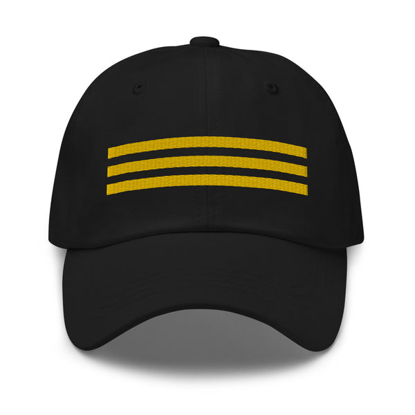 3 Gold Pilot Stripes Classic Embroidered Cap black