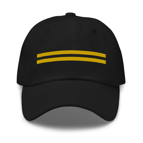 2 Gold Pilot Stripes Classic Embroidered Cap black