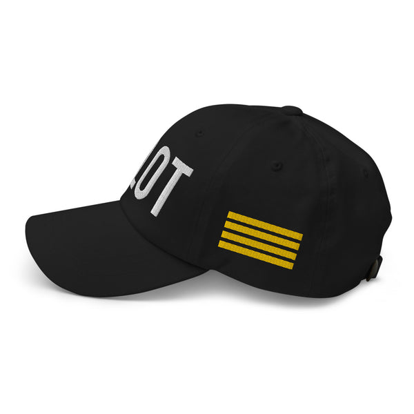 Pilot 4 Gold Stripes Classic Embroidered Cap black