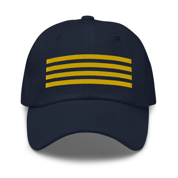 4 Gold Pilot Stripes Classic Embroidered Cap blue