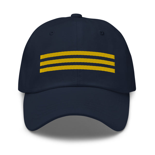 3 Gold Pilot Stripes Classic Embroidered Cap blue