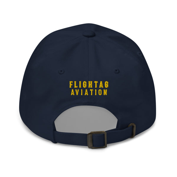 2 Gold Pilot Stripes Classic Embroidered Cap blue