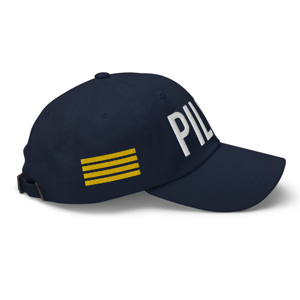 Pilot 4 Gold Stripes Classic Embroidered Cap navy
