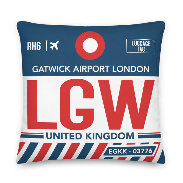 LGW Decorative Throw Pillow - London Gatwick Airport UK