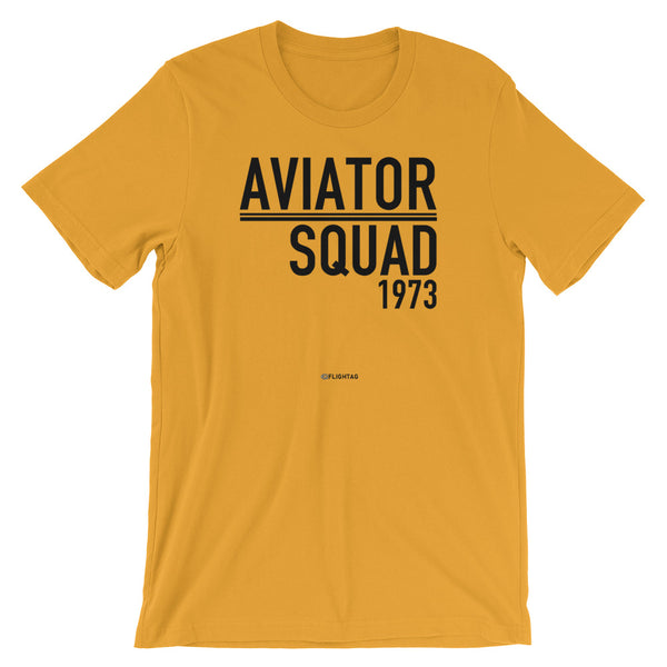 Aviator Squad 1973 T-Shirt yellow Travel Design T Shirt And Printed Hoodies Vacation Sweatshirt One Gift Airportag Iconspeak Aviation Shop Travlshop Wanderlust PilotMall JetSeam Aviator Gear Travel Notes Wild Blue