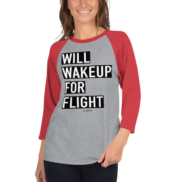 Will Wakeup For Flight - Women's Raglan T-Shirt heather grey and red Travel Design T Shirt And Printed Hoodies Vacation Sweatshirt One Gift Airportag Iconspeak Aviation Shop Travlshop Wanderlust PilotMall JetSeam Aviator Gear Travel Notes Wild Blue