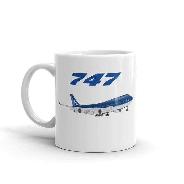 747 Blue Airplane USA Aviation And Pilot Edition Coffee Mug
