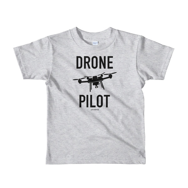 Drone Pilot - Kids T-Shirt heather grey Travel Design T Shirt And Printed Hoodies Vacation Sweatshirt One Gift Airportag Iconspeak Aviation Shop Travlshop Wanderlust PilotMall JetSeam Aviator Gear Travel Notes Wild Blue