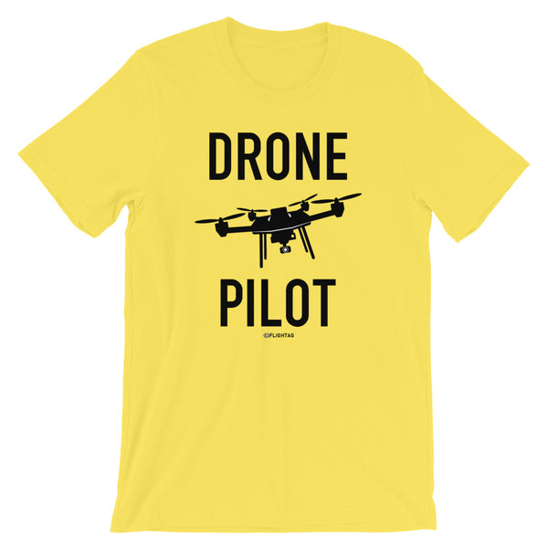 Drone Pilot Men's T-Shirt yellow Travel Design T Shirt And Printed Hoodies Vacation Sweatshirt One Gift Airportag Iconspeak Aviation Shop Travlshop Wanderlust PilotMall JetSeam Aviator Gear Travel Notes Wild Blue