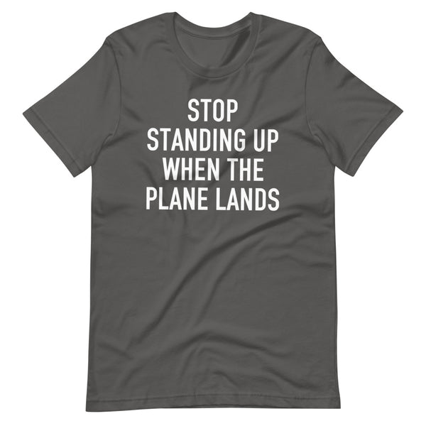 Stop Standing When The Plane Lands T-Shirt silver