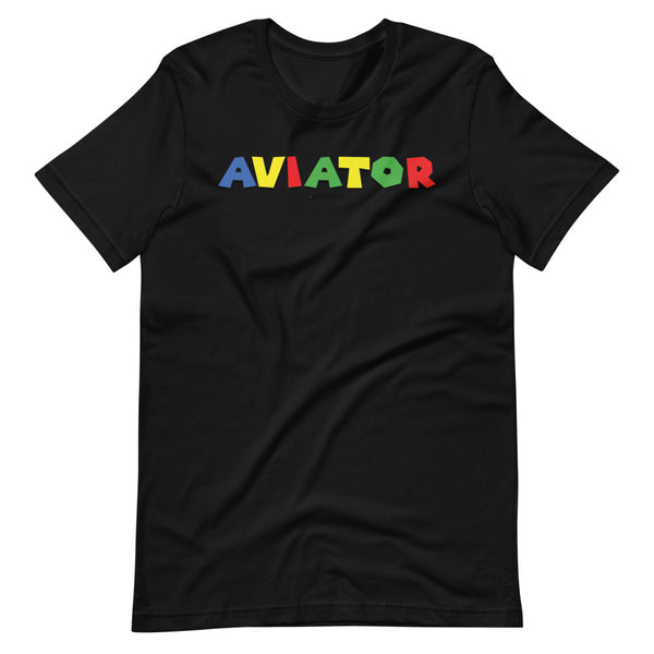 aviator super mario brothers theme tee shirt black