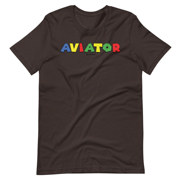 aviator super mario brothers theme tee shirt brown