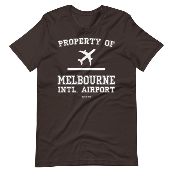 Property Of Melbourne International Airport T-Shirt brown