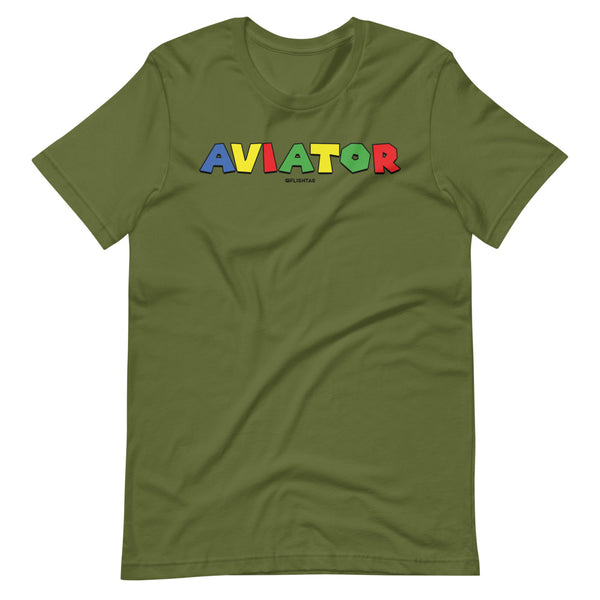 aviator super mario brothers theme tee shirt olive
