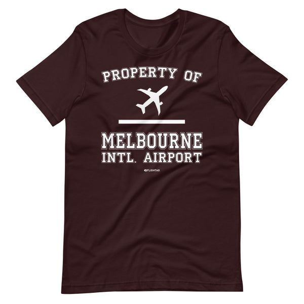 Property Of Melbourne International Airport T-Shirt oxblood black