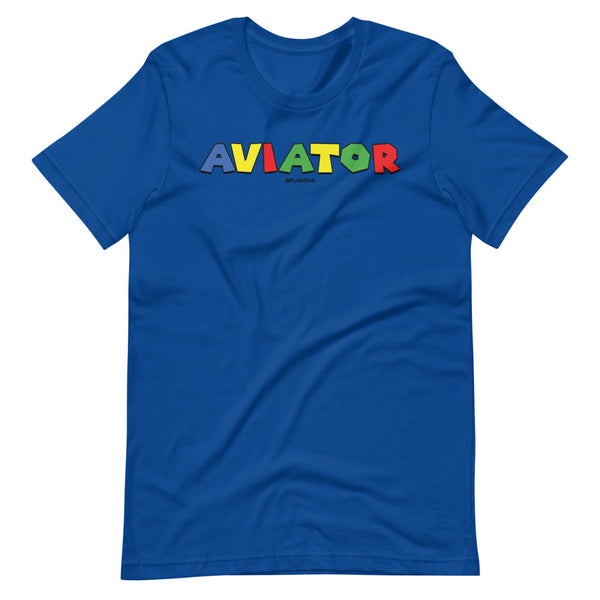 aviator super mario brothers theme tee shirt blue