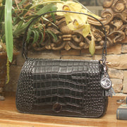 Classic Carrie Black Crocodile Print Leather Shoulder Clutch - Concealed Carrie