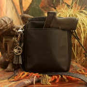 Microfiber Black Crocodile Crossbody Compact - Concealed Carrie