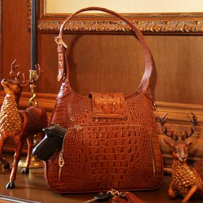 Classic Carrie Crocodile Print Leather Hobo - Concealed Carrie