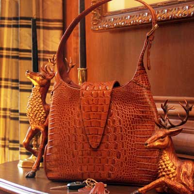 Crocodile Print Leather Hobo - Concealed Carrie