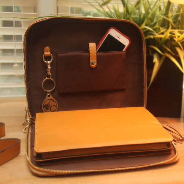 Ostrich Print Leather Tablet Case - Concealed Carrie