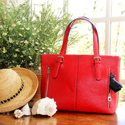 Classic Carrie Smooth Red Leather Tote - Concealed Carrie