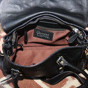 Classic Carrie Aged Black Leather Satchel - Concealed Carrie
